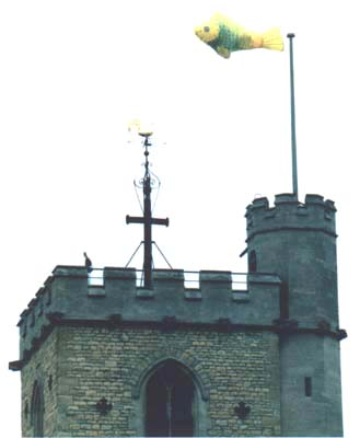 Yellow Fish flying from Carfax Tower